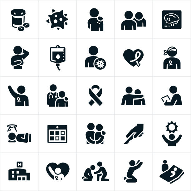 Cancer Icons vector art illustration
