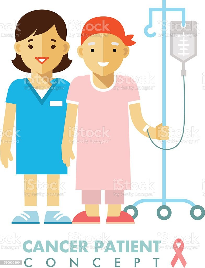 Cancer ill people person concept vector art illustration