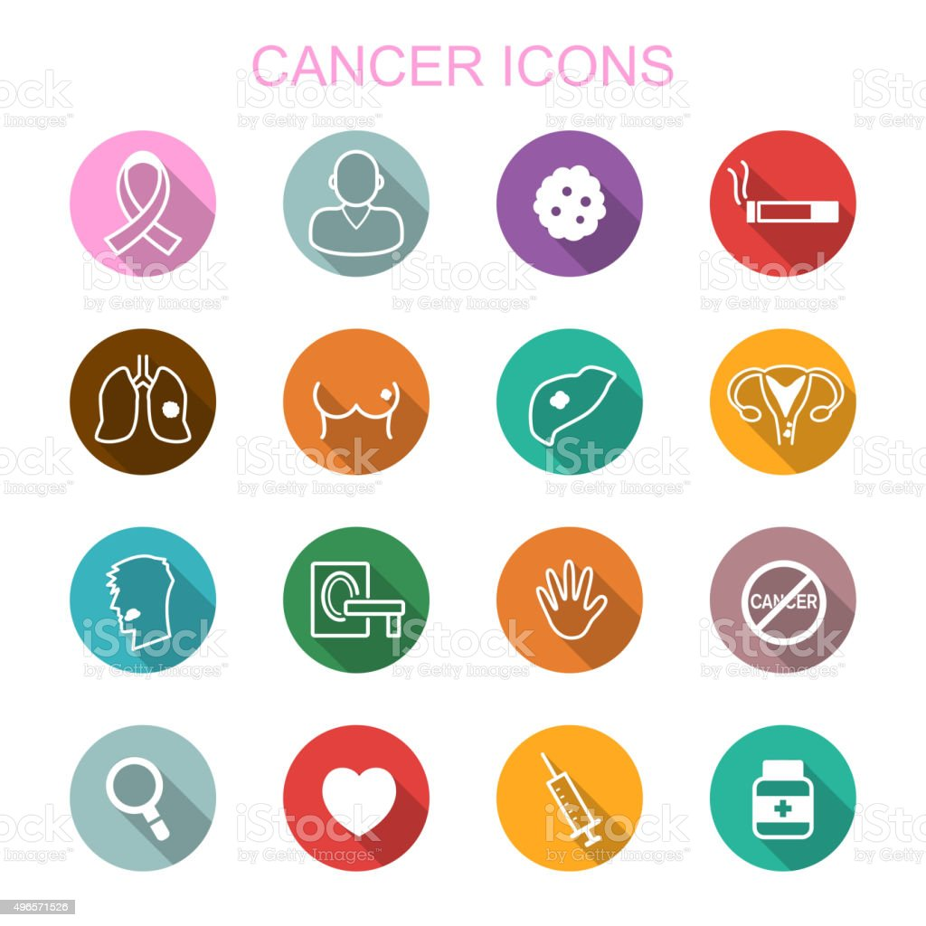 cancer long shadow icons vector art illustration