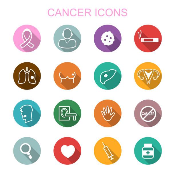 ilustraciones, imágenes clip art, dibujos animados e iconos de stock de cancer long shadow iconos - cáncer tumor