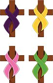 Breast Cancer,Military and other Ribbons on a Cross
