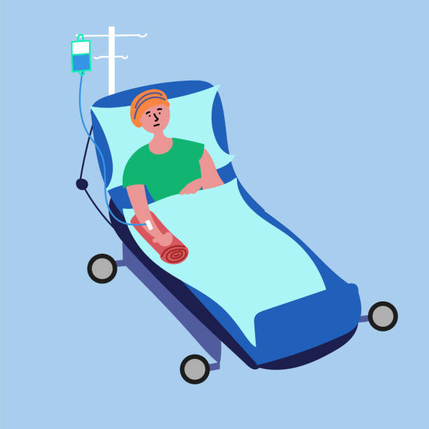 A cancer patient lies on a hospital bed and undergoes a medical chemotherapy procedure A cancer patient lies on a hospital bed and undergoes a medical chemotherapy procedure. Vector EPS 10 file editable chemotherapy cancer stock illustrations
