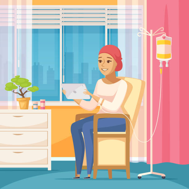cancer patient oncology flat composition - cancer patient stock illustrations