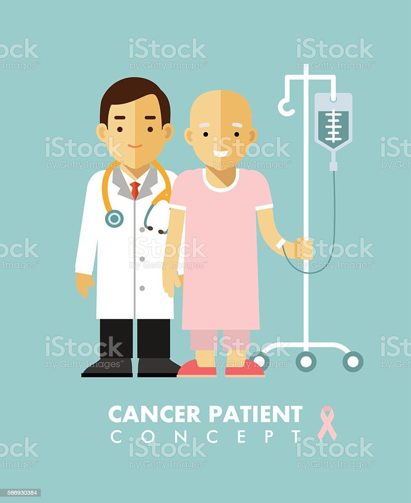 Cancer person concept. Cancer ill people. vector art illustration