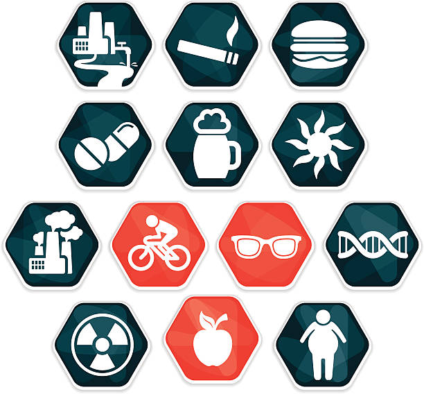 Cancer risk factors and prevention methods vector art illustration