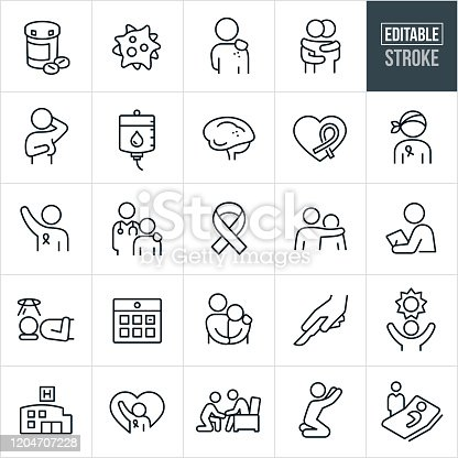 A set of Cancer icons that include editable strokes or outlines using the EPS vector file. The icons include cancer patients, medication, cancer virus, person with skin cancer, breast exam, breast cancer, two people hugging, chemotherapy, brain cancer, brain tumor, cancer awareness ribbon, chemotherapy patient, doctor, physician, oncologist, person with arm around shoulder of another person for support, medical checkup, person receiving radiation treatment, calendar, surgery, hope, hospital, person praying, person offereing support and a sick person in bed to name a few.