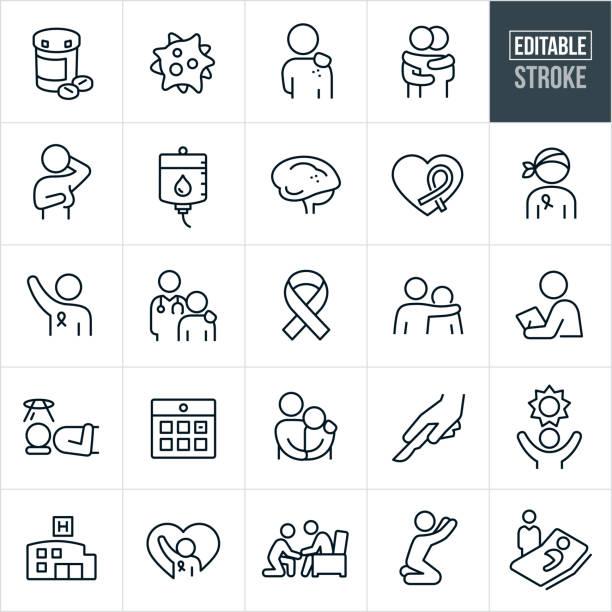 krebs dünne linie icons - editierbare schlaganfall - krebs tumor stock-grafiken, -clipart, -cartoons und -symbole