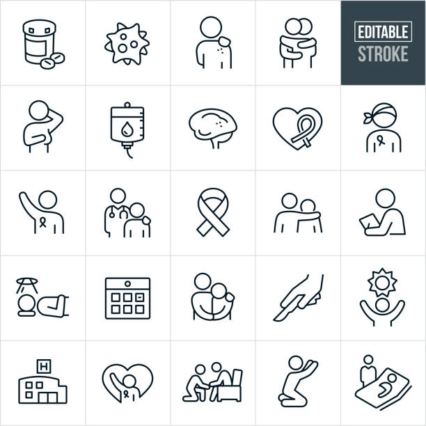 stockillustraties, clipart, cartoons en iconen met kanker thin line icons - bewerkbare beroerte - breast cancer
