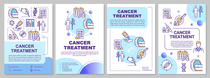 Cancer treatment brochure template. Chemotherapy. Flyer, booklet, leaflet print, cover design with linear icons. Oncology drug therapy. Vector layouts for magazines, reports, advertising posters