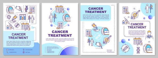 ilustraciones, imágenes clip art, dibujos animados e iconos de stock de plantilla de folleto de tratamiento del cáncer. quimioterapia. folleto, folleto, folleto impreso, diseño de portada con iconos lineales. terapia oncológica con drogas. diseños vectoriales para revistas, informes, carteles publicitarios - oncología