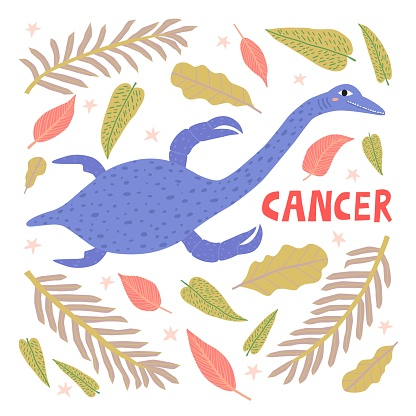 Cancer zodiac sign dinosaur cartoon character vector illustration.