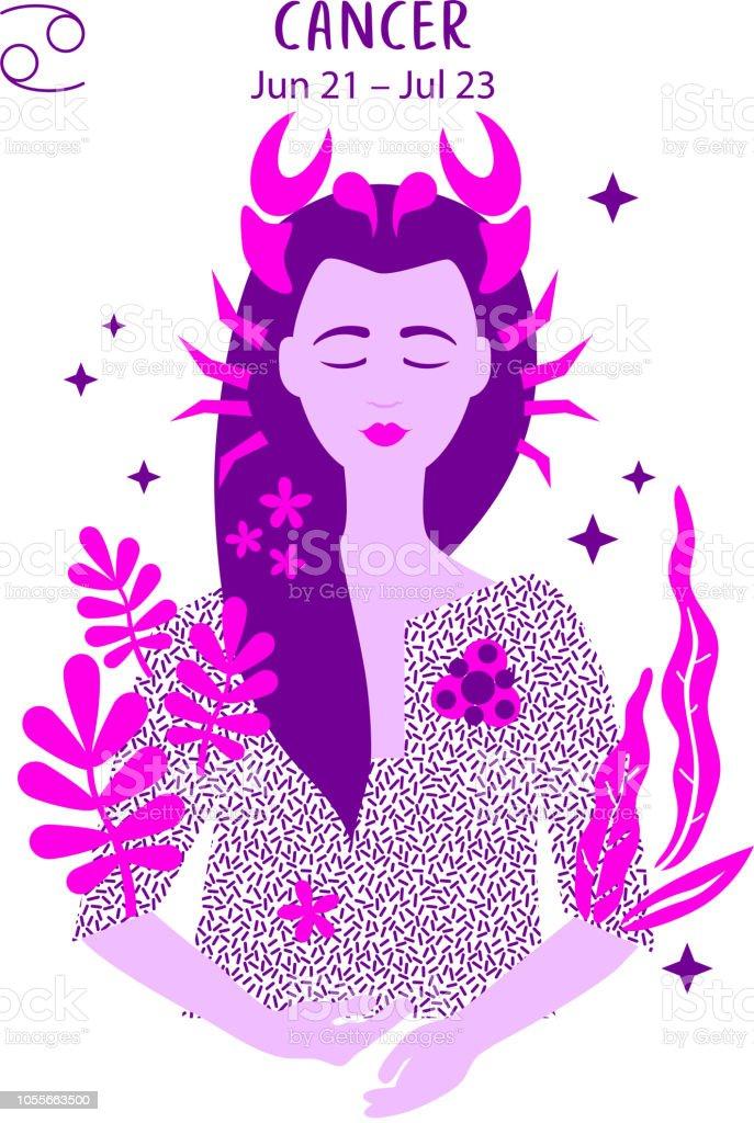 Cancer Zodiac Sign Girl Vector Illustration Astrology Zodiac Profile