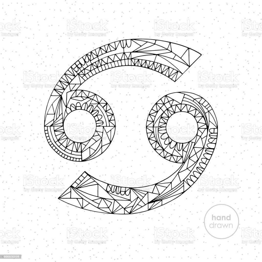 Cancer Zodiac Sign Vector Hand Drawn Horoscope Illustration