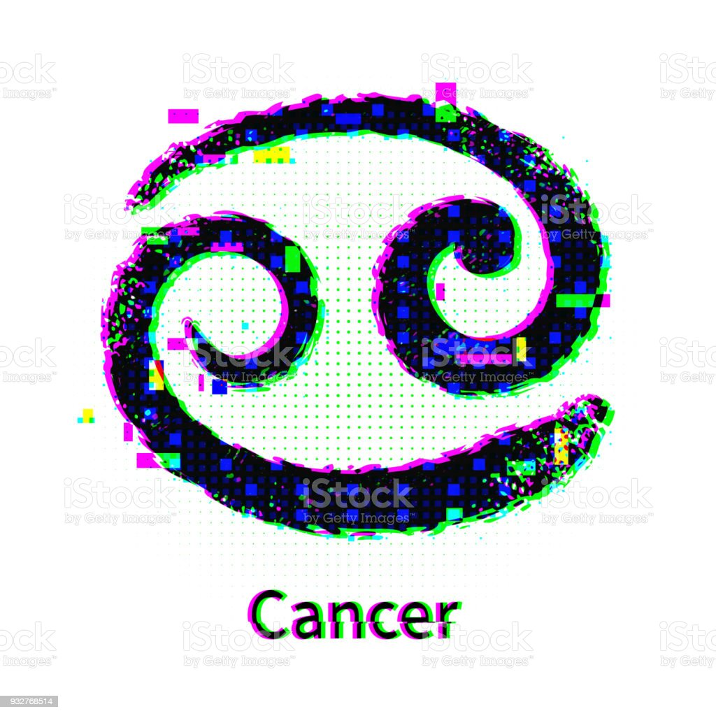 Cancer Zodiac Sign With Grunge And Glitch Effect Stock Vector Art