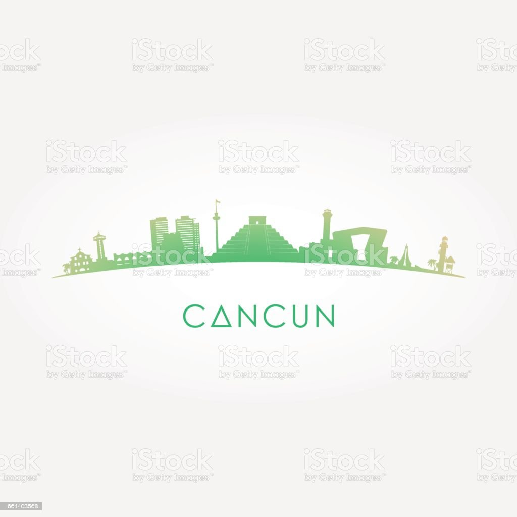 Cancun Mexico Skyline Silhouette Green Vector Design On White