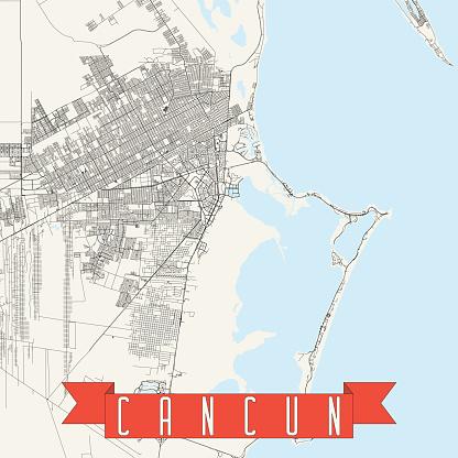 Cancun, Mexico Vector Map