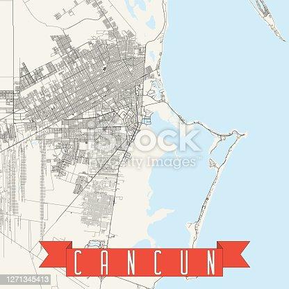 Cancún, Mexico Vector Map