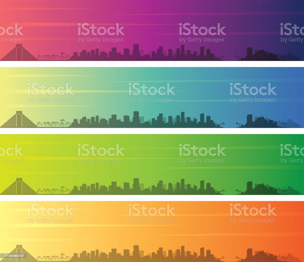 Cancun Multiple Color Gradient Skyline Banner Stock Illustration Download Image Now Istock