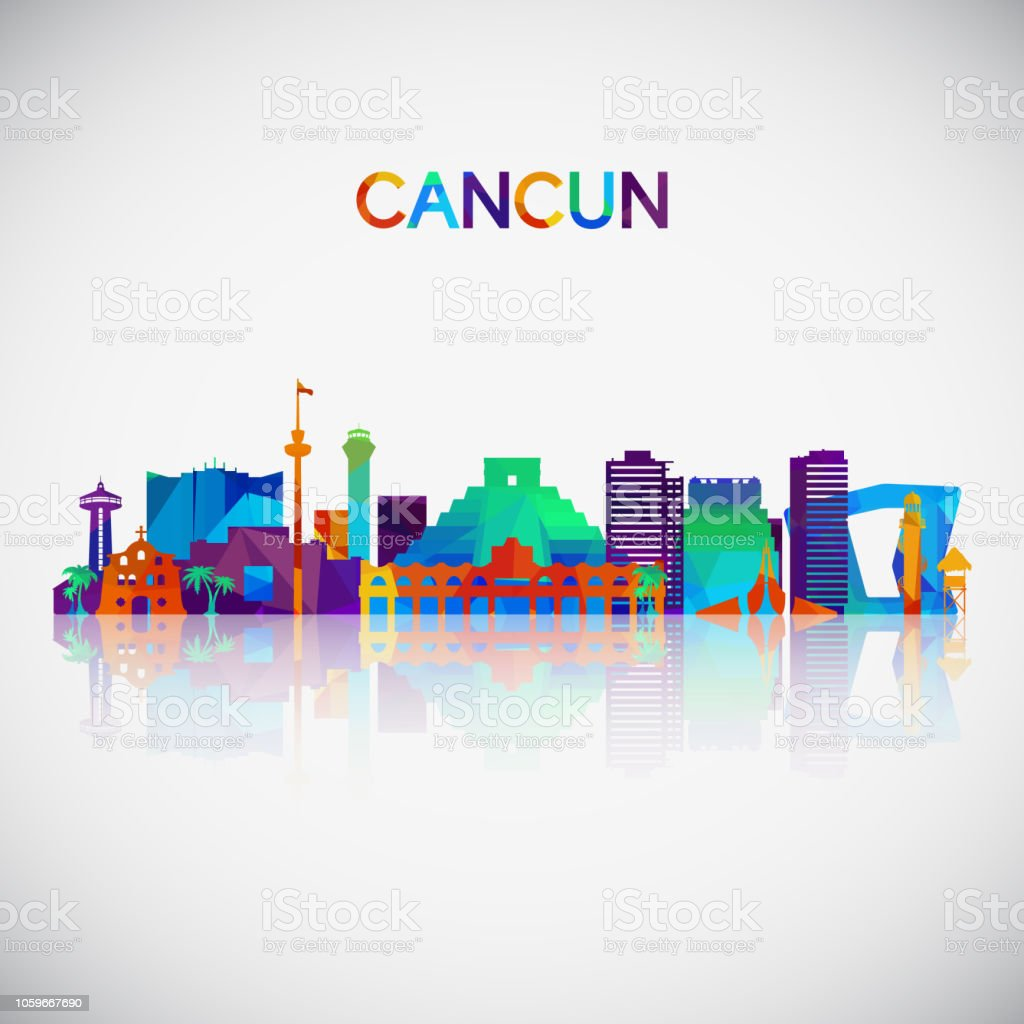 Cancun Skyline Silhouette In Colorful Geometric Style Symbol For