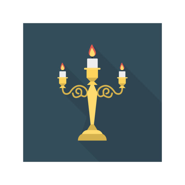 candelabra   candles  flame candelabra   candles  flame candlestick holder stock illustrations