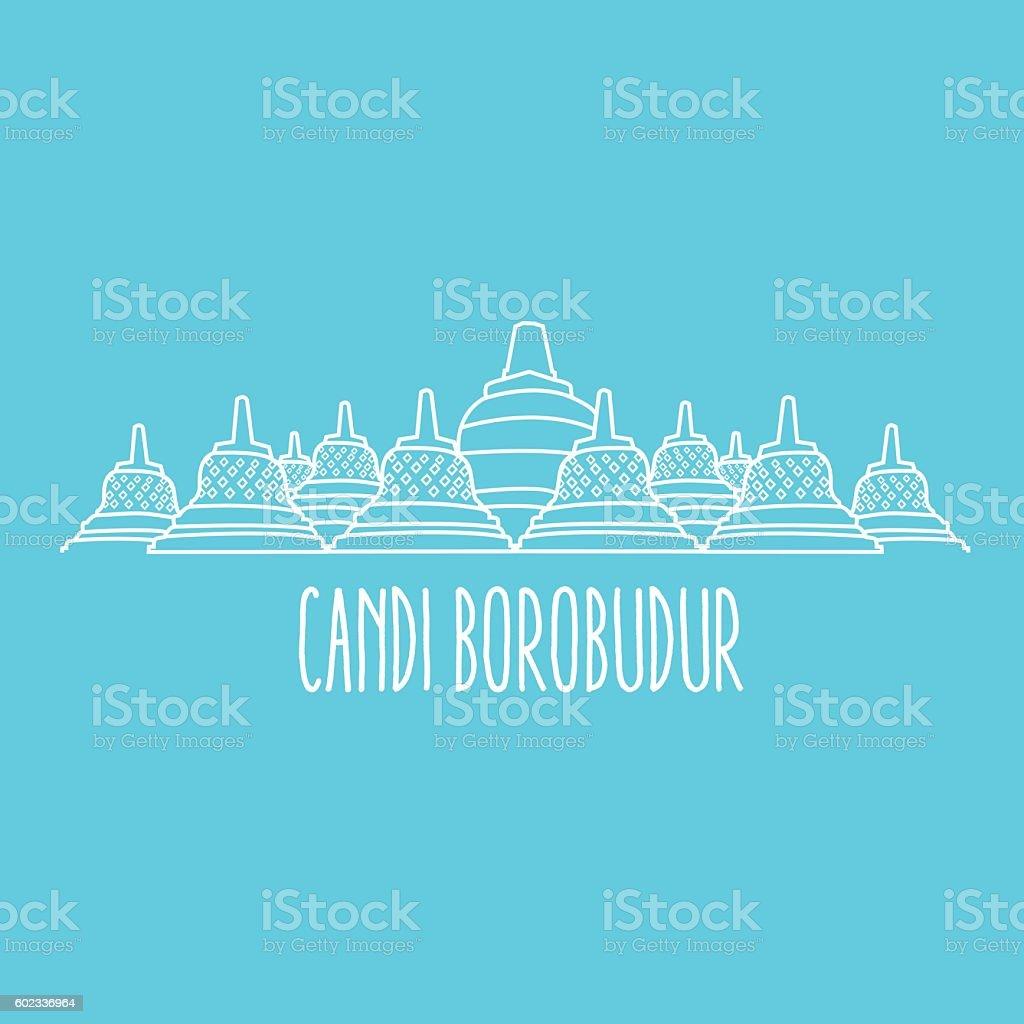 candi borobudur temple in Java island Indonesia line art thin vector art illustration