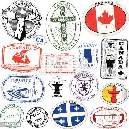 Series of stylized retro/vintage passport style stamps of different Canadian Locations. As well as three decals.