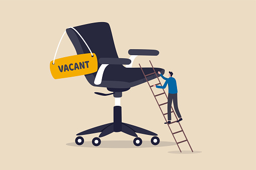 Candidate searching for job, career path or job promotion to be management, ladder of work success concept, ambitious businessman worker climbing the ladder to management office chair with vacant sign