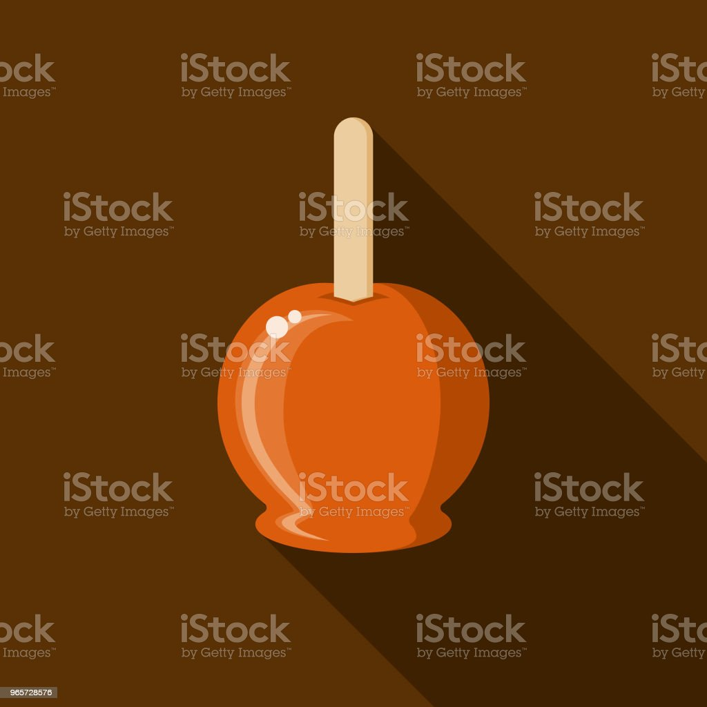 Candied Apple Flat Design Autumn Icon with Side Shadow - Royalty-free Apple - Fruit stock vector
