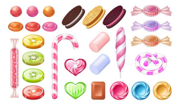 bonbons und lollipops. süße gelee-schokolade pfefferminzbonbons und kekse. vector realistischer satz von gummi-toffee-urlaubsdesserts - wackelpuddingkekse stock-grafiken, -clipart, -cartoons und -symbole