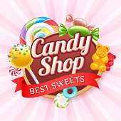 Candy shop poster. Colorful background with sweets - cake pop, gummy bears, hard candies and spiral lollipop on shine background.