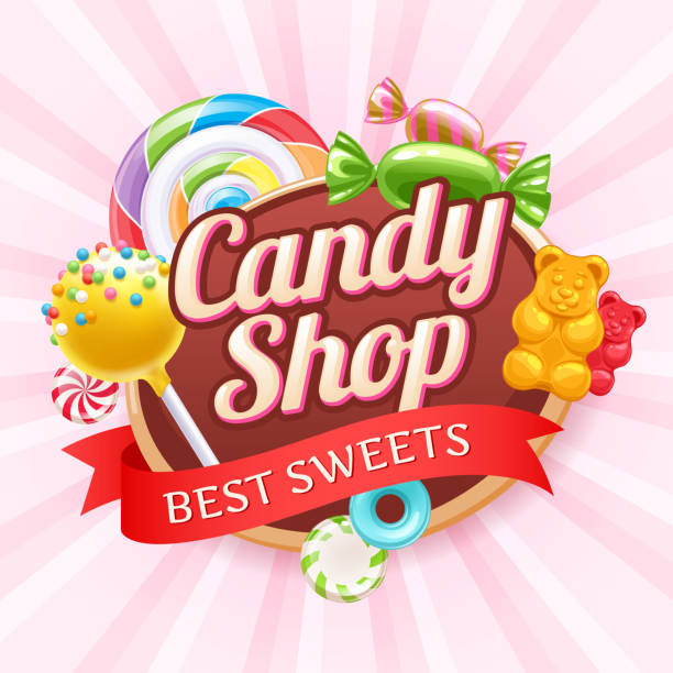 Candies and sweets colorful background Candy shop poster. Colorful background with sweets - cake pop, gummy bears, hard candies and spiral lollipop on shine background. candy stock illustrations