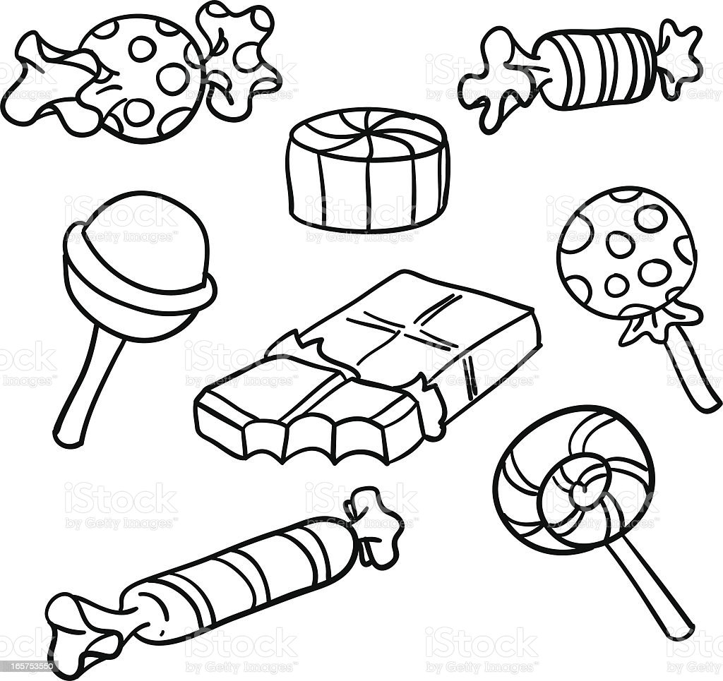 Candies Collection In Black And White Stock Vector Art ...