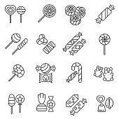 Candies icons set. Editable stroke.