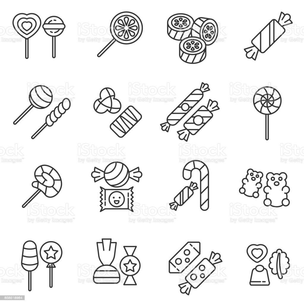 Ensemble d'icônes bonbons. Modifiables en course. - Illustration vectorielle