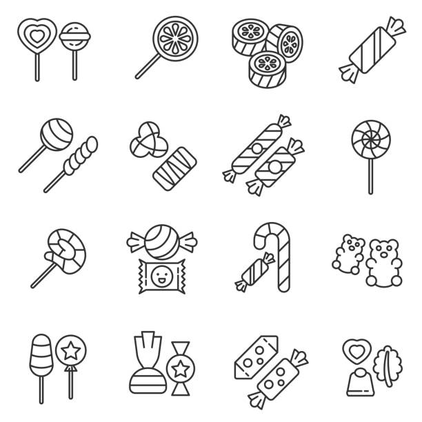 Candies icons set. Editable stroke. Candies icons set. Various sweets, thin line design. Sugar and chocolate products, linear symbols collection. Production of sweets, isolated vector illustration. candy icons stock illustrations