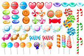 istock Candies set. Big collection of different cartoon style candies. Wrapped and not lollipops, cane, sweetmeats. Cute glossy sweets. Flat colorful icons. Vector illustration isolated on white background 1085056712