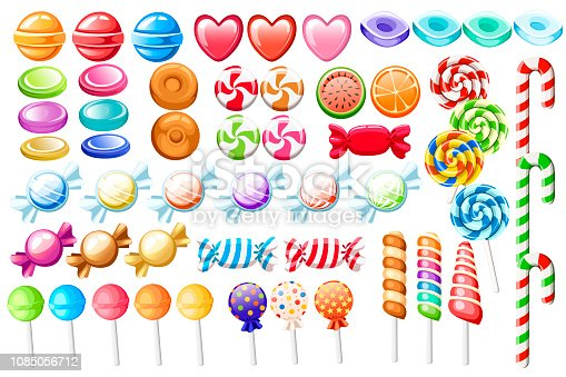 Candies set. Big collection of different cartoon style candies. Wrapped and not lollipops, cane, sweetmeats. Cute glossy sweets. Flat colorful icons. Vector illustration isolated on white background.