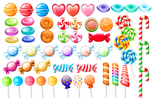 Candies set. Big collection of different cartoon style candies. Wrapped and not lollipops, cane, sweetmeats. Cute glossy sweets. Flat colorful icons. Vector illustration isolated on white background