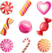 Sweets and candies icons set - vector. EPS 10. File contains transparences!