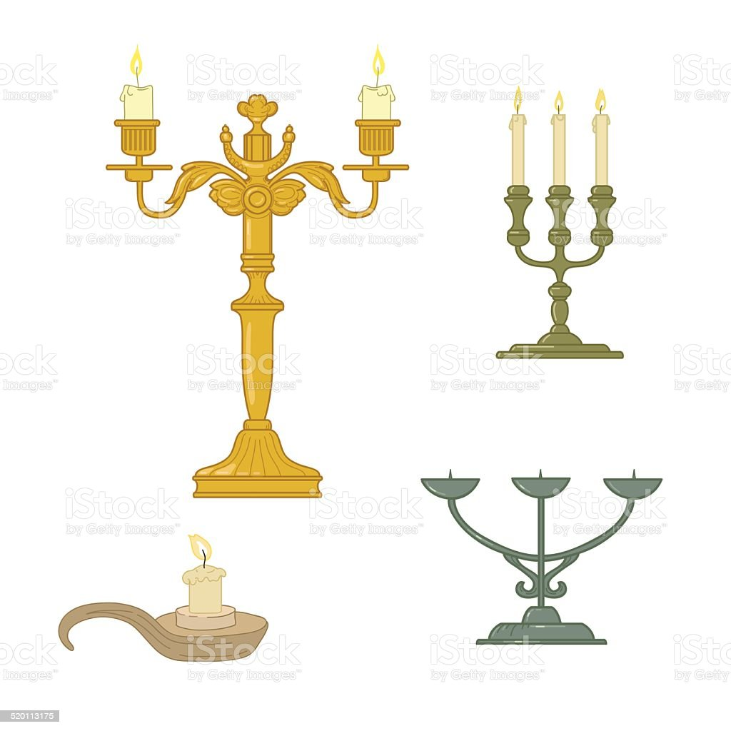 Candle and candelabrum vector art illustration