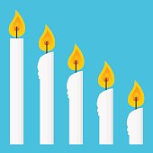 Vector stock of candles row in different burning process