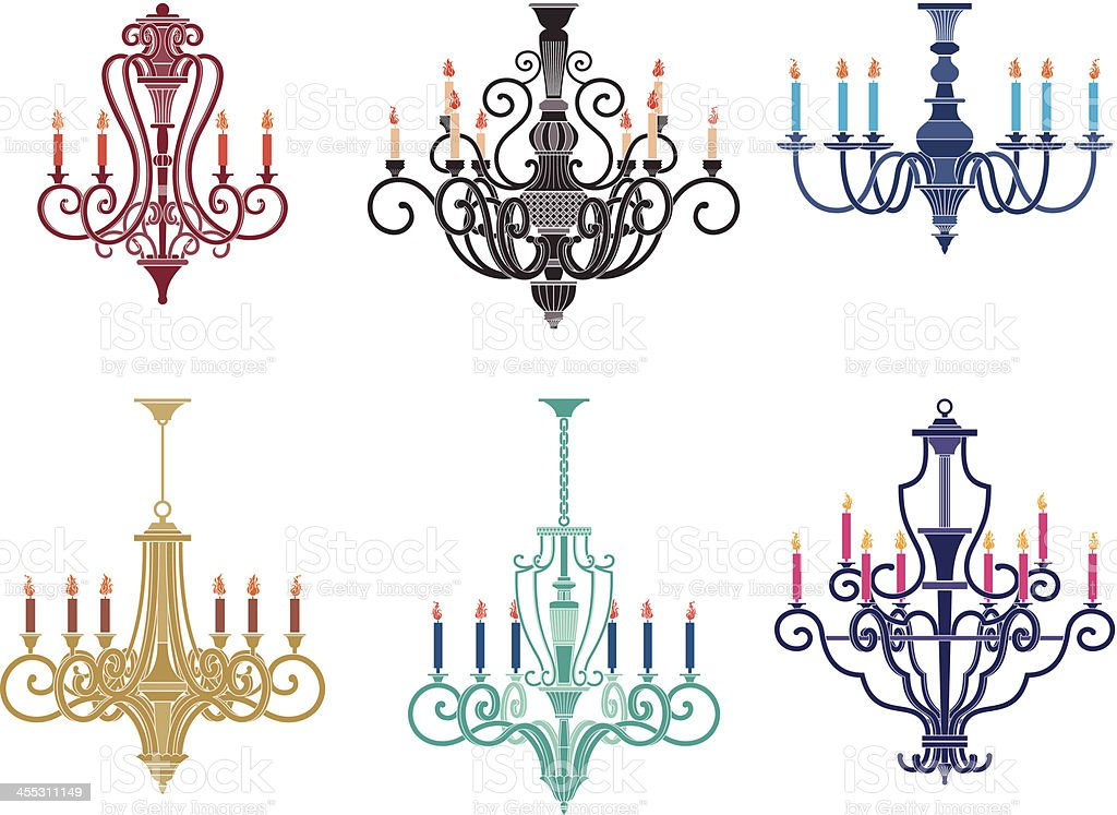 candle chandeliers vector art illustration