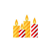 Candle Christmas icon. Vector. Red and yellow striped candles. Holiday symbol isolated on white background in flat design. Cartoon colorful illustration.