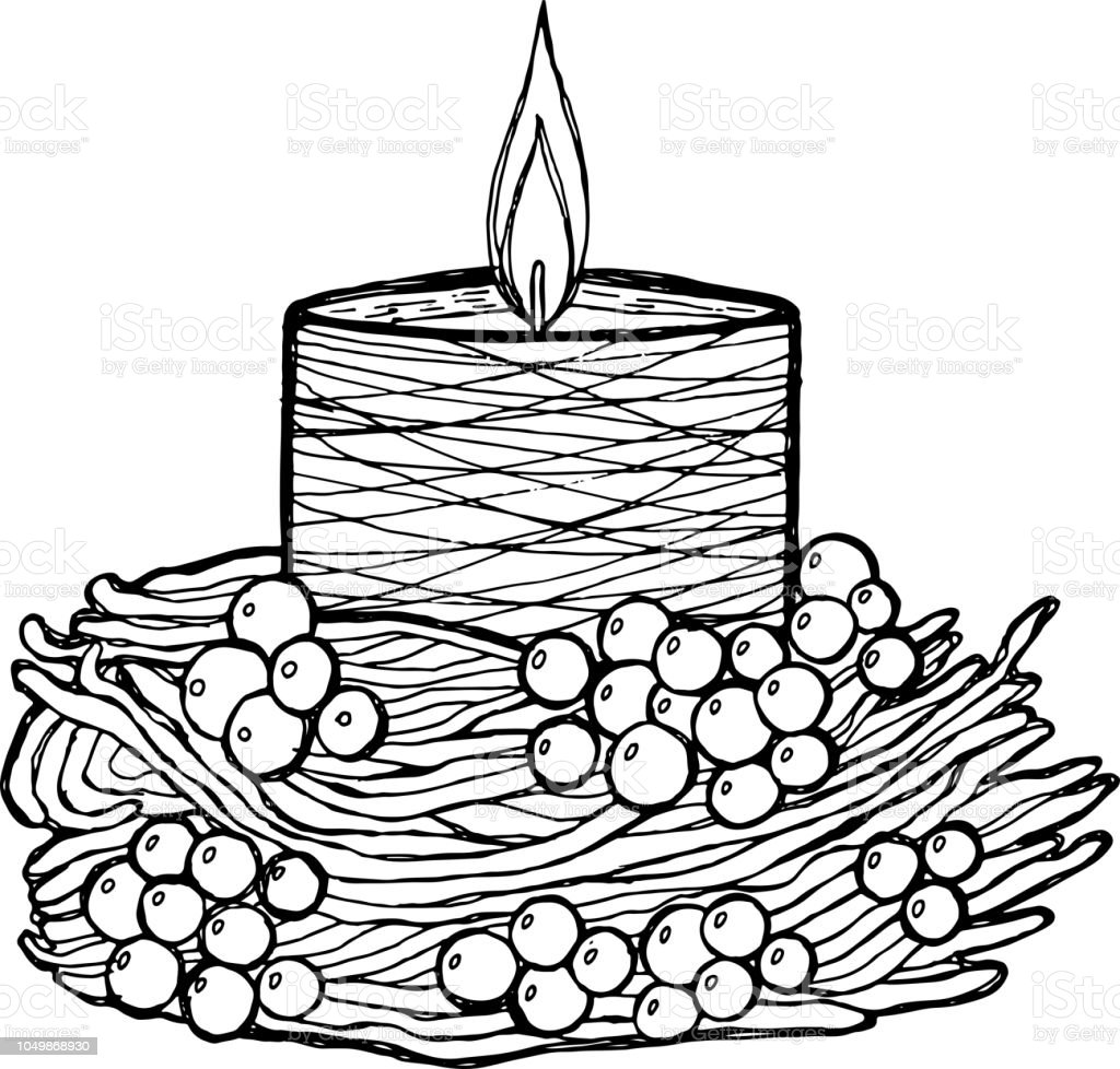 Candle Coloring Page For Adults Graphic Ink Artwork Vector