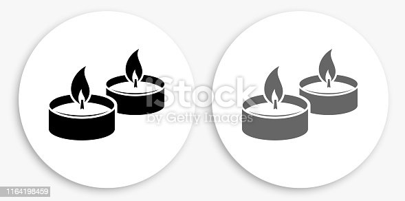 istock Candle Fire Black and White Round Icon 1164198459
