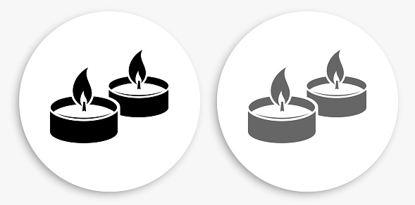 Candle Fire Black and White Round Icon
