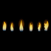 Candle fire flame. Vector.