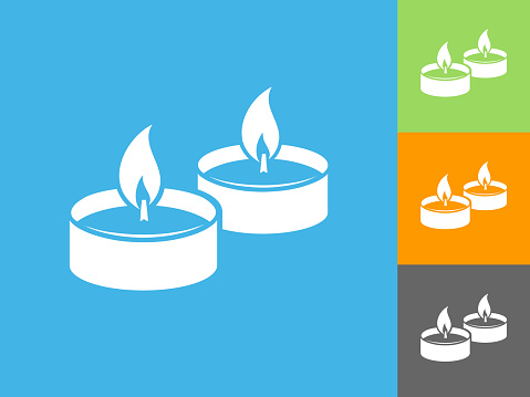 Candle Fire  Flat Icon on Blue Background