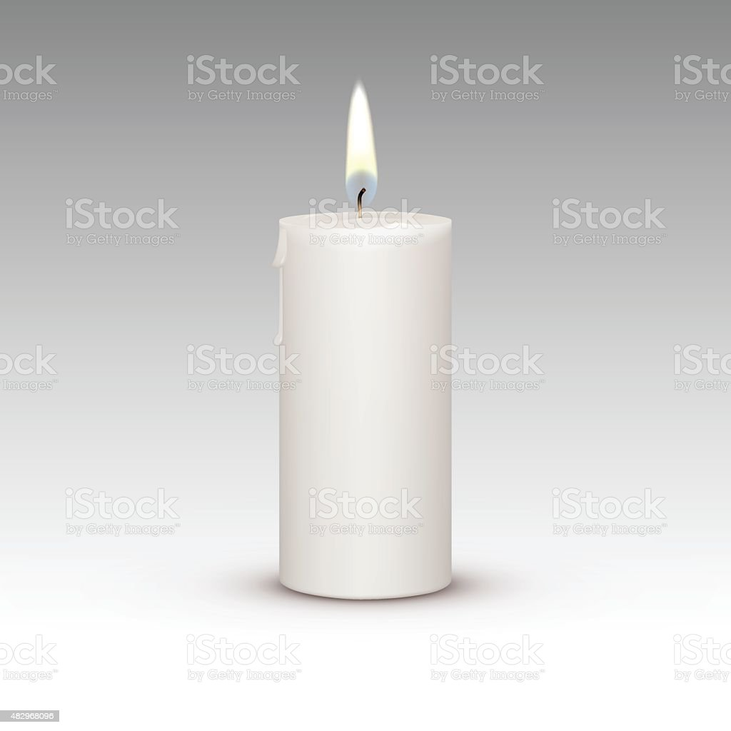 Candle Flame Fire Light Isolated on Background vector art illustration