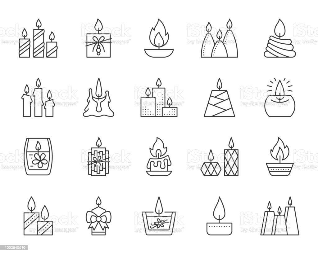 蝋燭炎単純な黒線アイコン ベクトルを設定 ベクターアートイラスト